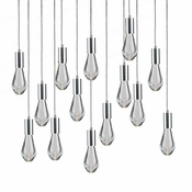 14 Pendant Chrome Cosmopolitan Chandelier - Clear Drop Glass