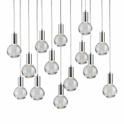 14 Pendant Chrome Cosmopolitan Chandelier - Clear Round Glass