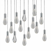 14 Pendant Chrome Cosmopolitan Chandelier - Crackled Drop Glass