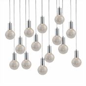 14 Pendant Chrome Cosmopolitan Chandelier - Crackled Round Glass