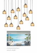 14 Pendant Chrome Cosmopolitan Chandelier - Seeded Gold Triangle Glass