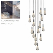 15 Pendant Chrome Cosmopolitan Chandelier - Bubbled Drop Glass