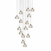 15 Pendant Chrome Cosmopolitan Chandelier - Clear Bubbled Triangle Glass