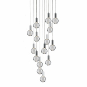 15 Pendant Chrome Cosmopolitan Chandelier - Clear Round Glass