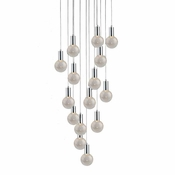 15 Pendant Chrome Cosmopolitan Chandelier - Crackled Round Glass