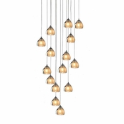 15 Pendant Chrome Cosmopolitan Chandelier - Seeded Gold Triangle Glass