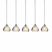 5 Pendant Chrome Cosmopolitan Chandelier -Clear Bubbled Triangle Glass