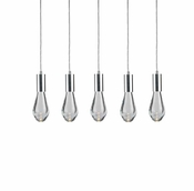 5 Pendant Chrome Cosmopolitan Chandelier -Clear Drop Glass