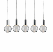 5 Pendant Chrome Cosmopolitan Chandelier - Clear Round Glass