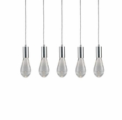 5 Pendant Chrome Cosmopolitan Chandelier - Crackled Drop Glass