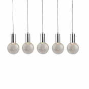 5 Pendant Chrome Cosmopolitan Chandelier - Crackled Round Glass