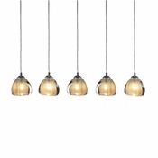 5 Pendant Chrome Cosmopolitan Chandelier -Seeded Gold Triangle Glass