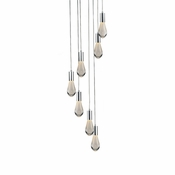 7 Pendant Chrome Cosmopolitan Chandelier - Bubbled Drop Glass