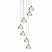 7 Pendant Chrome Cosmopolitan Chandelier - Clear Bubbled Triangle Glass