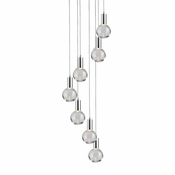 7 Pendant Chrome Cosmopolitan Chandelier -Clear Round Glass