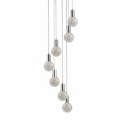 7 Pendant Chrome Cosmopolitan Chandelier - Crackled Round Glass