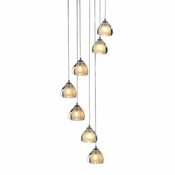 7 Pendant Chrome Cosmopolitan Chandelier - Seeded Gold Triangle Glass
