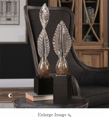 Annice Set of 2 Glass Leaves