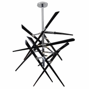 Axion Chandelier - Black Glass