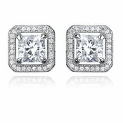 CRISLU Princess Cut 3.0 Carat Earrings With Halo Finished in Pure Platinum