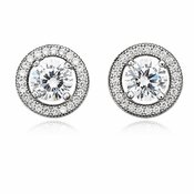 CRISLU Brilliant Cut Halo Earrings Finished in Pure Platinum