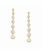 CRISLU Bezel Set 2.9 Carat Drop Earrings Finished in 18KT Gold