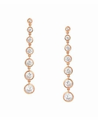 CRISLU Bezel Set 2.9 Carat Drop Earrings Finished in 18KT Rose Gold