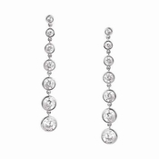 CRISLU Bezel Set 2.9 Carat Drop Earrings Finished in Pure Platinum