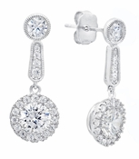 CRISLU Brilliant Cut Cluster Drop Earrings