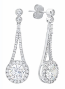 CRISLU Brilliant Cut Halo Drop Earrings