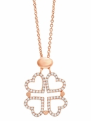 CRISLU Clover Heart Necklace finished in 18KT Rose Gold - 28""