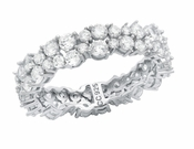 CRISLU Cluster Small Eternity Ring Finished in Pure Platinum - Size 8