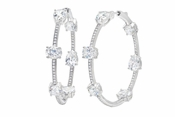 CRISLU Couture 13.3 Carat Hoop Earrings Finished in Pure Platinum