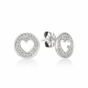 CRISLU Cut-out Heart Studs Finished in Pure Platinum