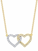 CRISLU Double Heart Necklace finished in 18KT Gold