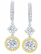CRISLU Fiore Canary Halo Leverback Earrings