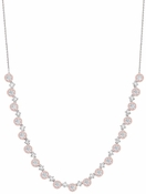 CRISLU Fiore Pink Halo Half Tennis Necklace