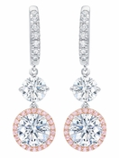 CRISLU Fiore Pink Halo Leverback Earrings