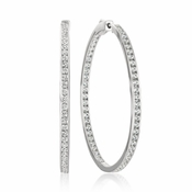 CRISLU Classic Inside Out Hoop Earrings 2.0 Carat Finished in Pure Platinum