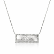 "CRISLU ""Mom"" Nameplate Pendant Necklace finished in Pure Platinum"