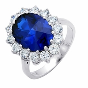 CRISLU Oval Center Stone Ring - Size 6