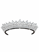 CRISLU Palmette and Asscher Cut Bridal Tiara