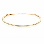 CRISLU Pave Chain Bangle Finished in 18KT Gold