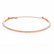 CRISLU Pave Chain Bangle Finished in 18KT Rose Gold