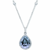 CRISLU Pear Blue Quartz Pendant Finished in Pure Platinum