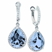 CRISLU Pear Drop Blue Quartz Earrings Finished in Pure Platinum