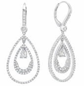 CRISLU Pear Shape Double Loop Drop Earrings