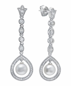 CRISLU Pearl Drop Cluster Earrings