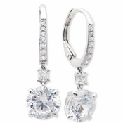 CRISLU Brilliant 2.15 Carat Drop Earrings Finished in Pure Platinum