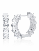 CRISLU Princess 3.5 Carat Hoops Finished in Pure Platinum